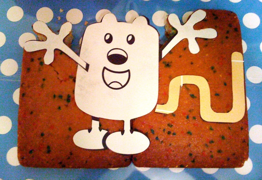 Wow Wow Wubbzy Cake printed out, slightly altered, and placed on 2 13x9 cakes.