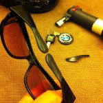 sugru customized glasses for better folding and helmet fit.
