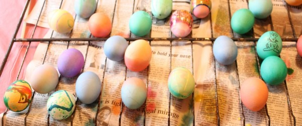 Eggs, colored, lots of them.
