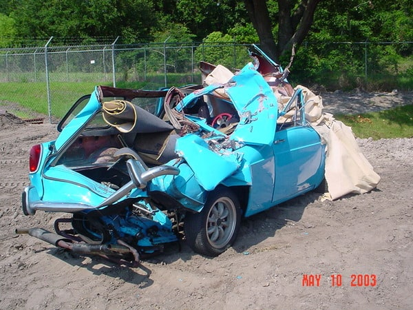 My Type 3 VW was opened like a sardine can thanks to a drunk driver.