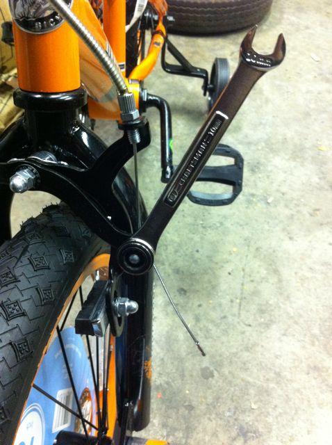 Adjusting brakes on kids bike