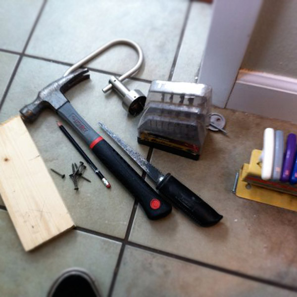 Tools for repairing drywall.