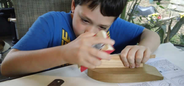 Wooden model boats built as family fun time.