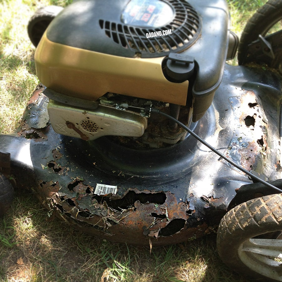 Fixing a rusty mower deck.