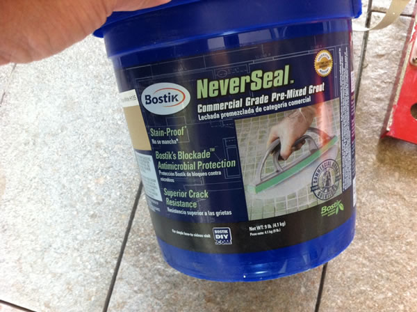 I splurged and bought two containers of Bostik NeverSeal grout (Lowe's P/N 442162). At about $75 per container it was pricey, but it doesn't need to be sealed. And with all the foot traffic of kids and pets, I don't want dirty stained grout in three months. I used a similar product from Lowe's about seven years ago that still looks brand new today. Totally worth it.