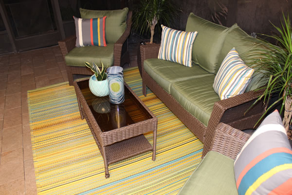 Cute Here us another angle showing the finished floor and our patio set More on the accessories