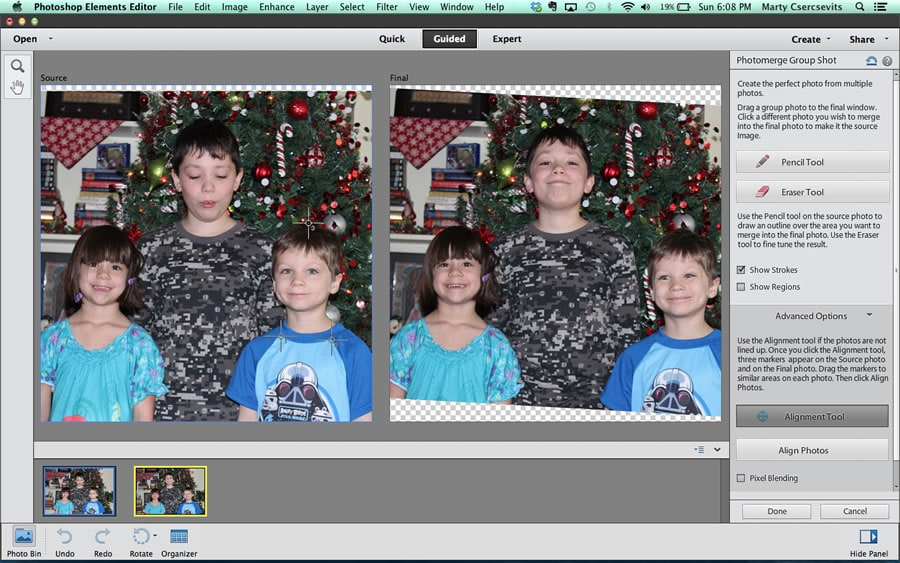 You see how the final photo on the right is rotated a bit? That's because PSE attempts to align the two photos in order to ensure any portions you merge stay aligned from photo to photo. As I look at the positions of the children's heads from photo to photo, it looks pretty good. But if the photos do not align well, you can use the Alignment tool to map marker points. It might be hard to see here, but I moved the three marker points around my son's head—one each on his shirt where the sleeves meet the collar, and one at the top of his head. (Click the image to see a lareger version)