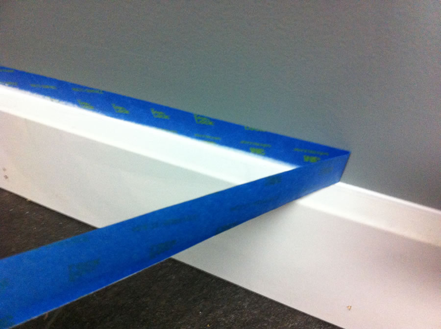 …then pulled the tape while the caulk was still wet to get a nice clean finish.
