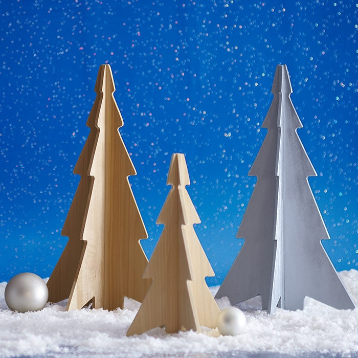 Lowe S Decorative Diy Tabletop Wood Cutout Christmas Trees