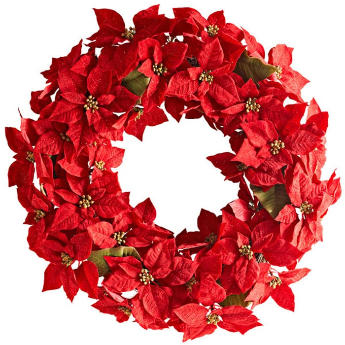 lowes diy poinsettia wreath - Lowes Christmas Wreaths