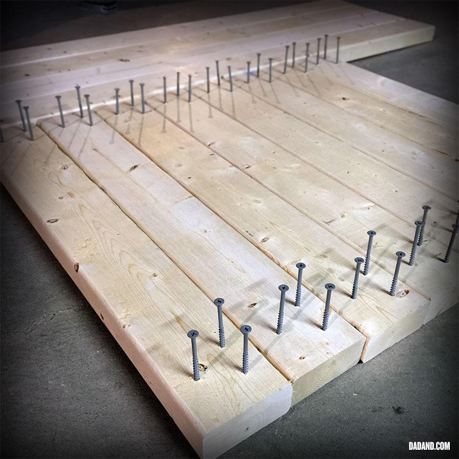 Predrilled screws for Freestanding DIY 2x4 shelves. Storage shelving for basement, garage, or pantry.