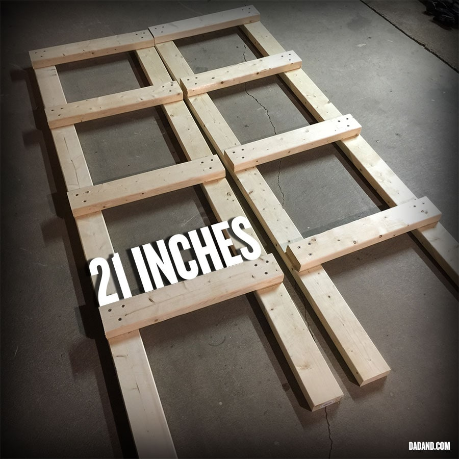 DIY 2x4 shelving partial assembly