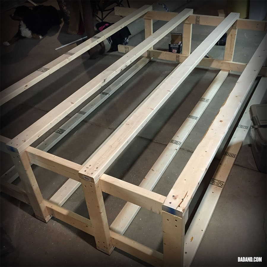 Partial assembly of Freestanding DIY 2x4 shelves. Storage shelving for basement, garage, or pantry.