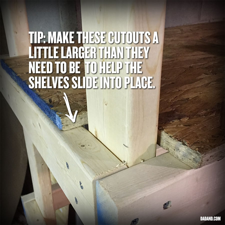 DIY 2x4 shelving assembly