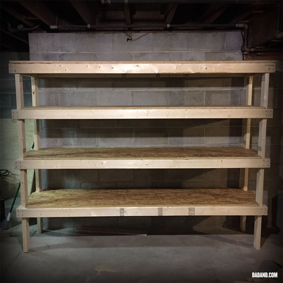Freestanding DIY 2x4 shelves. Storage shelving for basement, garage, or pantry.