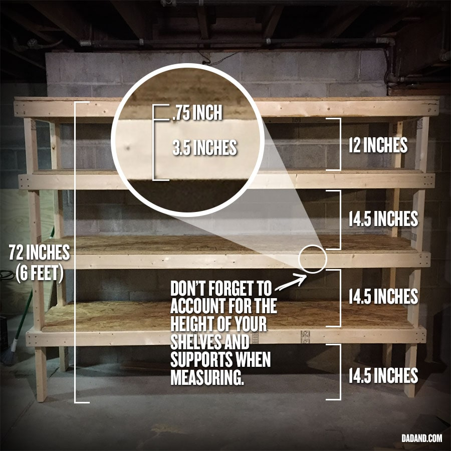 Measurements for freestanding DIY 2x4 shelves. Storage shelving for basement, garage, or pantry.
