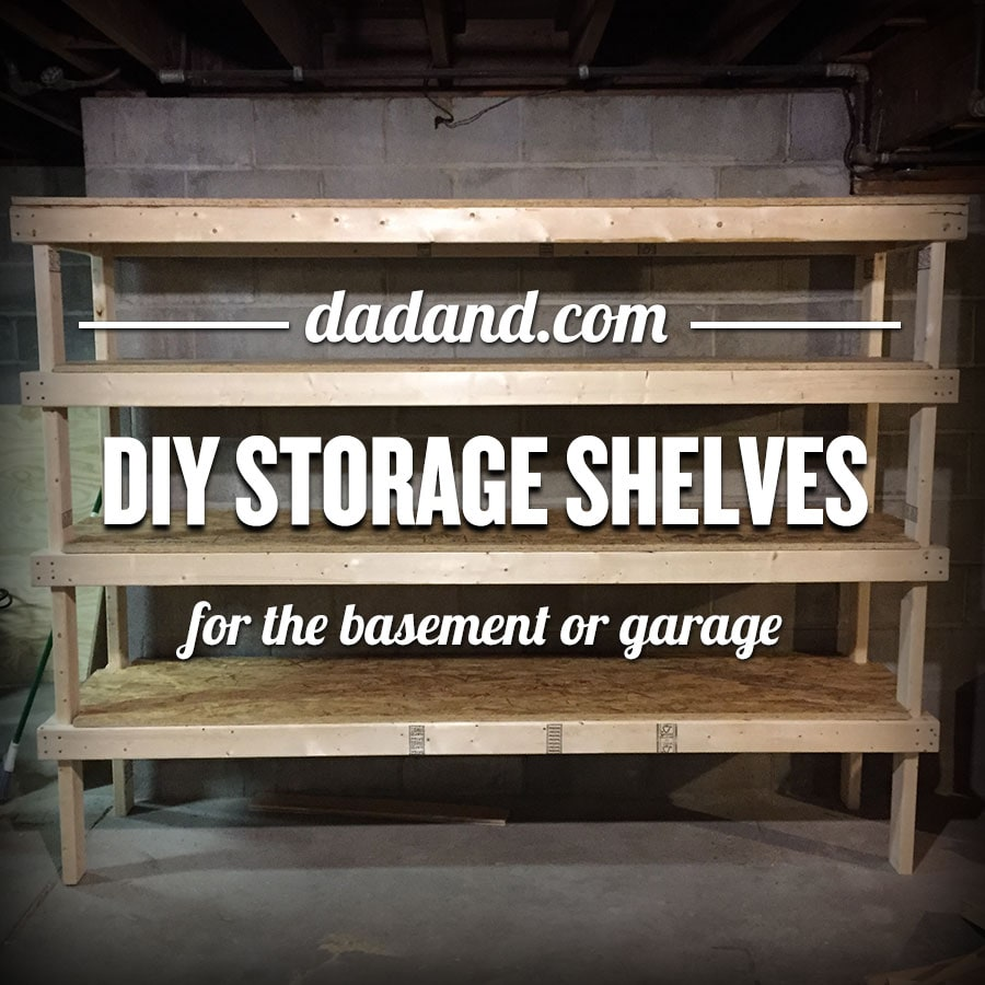 Freestanding DIY 2x4 shelves plans. Storage shelving for basement garage or pantry. & DIY 2x4 Shelving for Garage or Basement | dadand.com - dadand.com