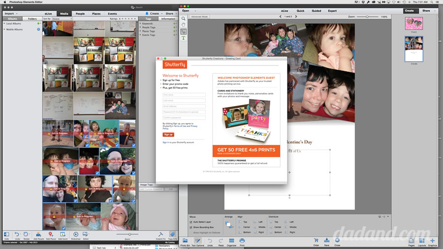 photoshop elements works with shutterfly to make cards