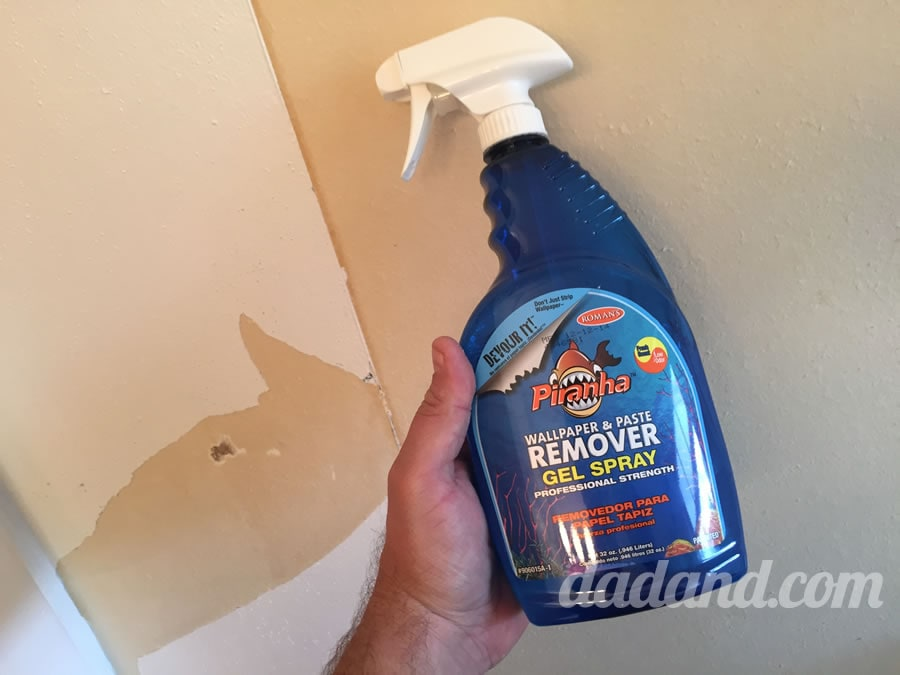 I took care of those wallpaper remnants and glue with this stuff. A gel wallpaper and paste remover. Spray, sit for about 15 minutes and then it scraped clean off with a putty knife.