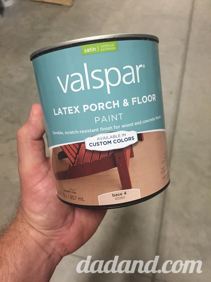 While I was at Lowe's, I picked up some Valspar Latex Porch & Floor paint. Déjà vu. ESP. Nah. I just looked down over the past year and knew I'd have to paint the step soon. The paint guy recommended it and said it would be good for wood or concrete. And then he time-traveled back to when my pavers were new to match the tan color. (Again…nah—I brought a spare, new paver with me to match.)