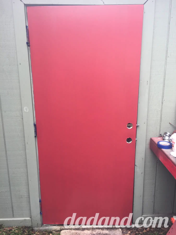 One coat coverage with Valspar when Dad blog paints a door.