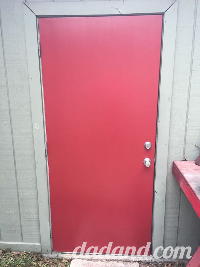 Dad Blog Finishes Painting A Metal Exterior Door With Paint.