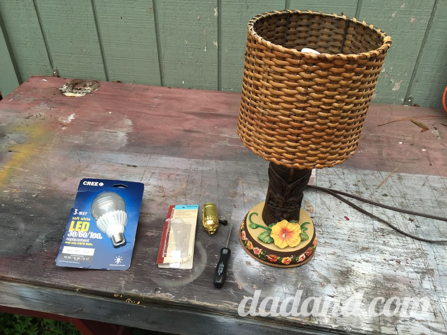 Oh, and here's all the stuff you'll need. Lamp. Switch. Bulb. Screwdriver.
