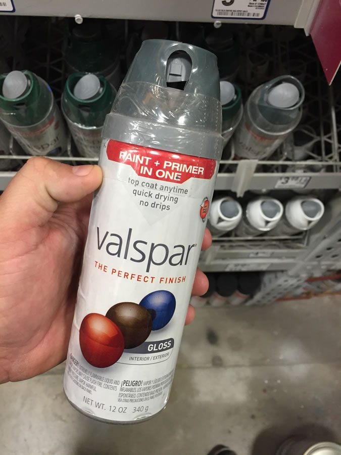On the hunt for some fasteners for the vice, I stopped at Lowe's and picked up this Valspar Premium Enamel Spray Paint in Primer Gray, which has paint and primer in one. It couldn't be easier to use, which is great considering all the labor that went into everything else.