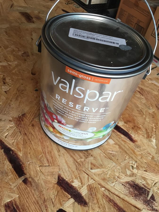 I took the spray can back to Lowe's and had the paint guy custom match the gray. I got a gallon of semi-gloss Valspar Reserve.  From spray can to gallon can, the color matching couldn't have been better.  I purchased the gallon because I knew what I would be building next…some shelves.