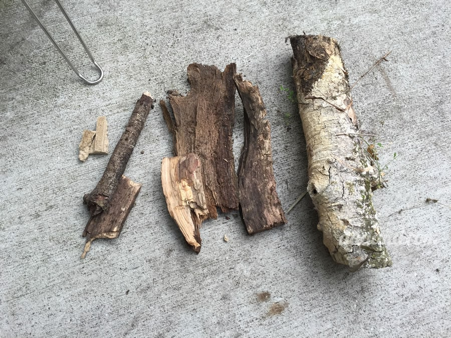 So I'm starting with a piece of the included firestarter (left), then some stuff scrounged up from my backyard, various sticks, bark and then a small log from the firewood pile.