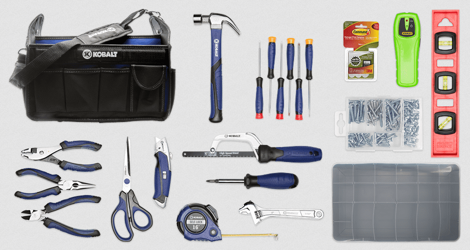 All Geared Up – Kobalt tool bag, hammer, pliers, measuring tape and more…