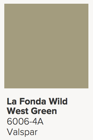 We went with a darker green for the accent color this time. About one two shades darker on the swatch book than what we had previously painted. It's called La Fonda Wild West Green and it's from Valspar's National Trust for Historic Preservation line of colors. Not that my mid-century house is historic—we just liked it. Oh, and if I didn't like it after painting, I'd take Valspar up on their Perfect Color guarantee—they'll give me another color for free.