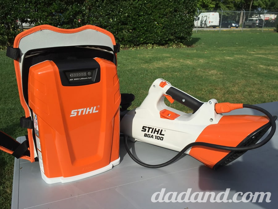We tried out all of the Stihl Lightning line, but the coolest was this battery backpack that plugged into the BGA100 blower. The backpack was maybe 15lbs. and was lighter and quieter than their proven fuel-driven blowers.