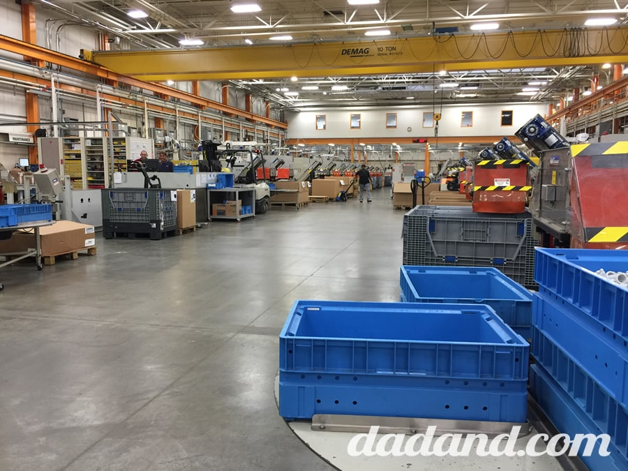 We were limited on the number of photos we could take in the factory, as they had quite a bit of top-secret, proprietary machinery. So this wide shot is from the injection molding area of the plant. From fuel tanks to plastic shrouds to buttons and handles, it was all made right here.