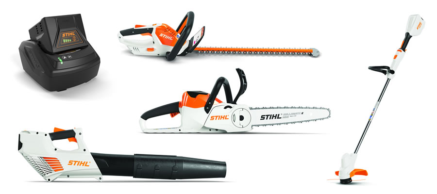 Maintain your suburban homestead with the AK system, including a hedge trimmer, blower, string trimmer and chainsaw.
